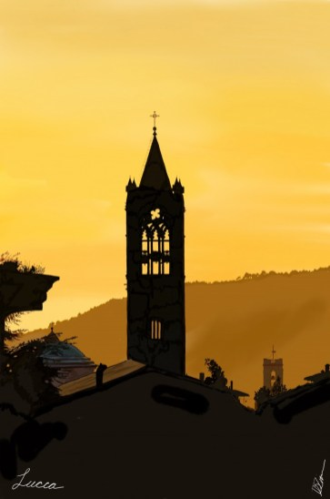 Sunset with Church Tower in Lucca while Italy