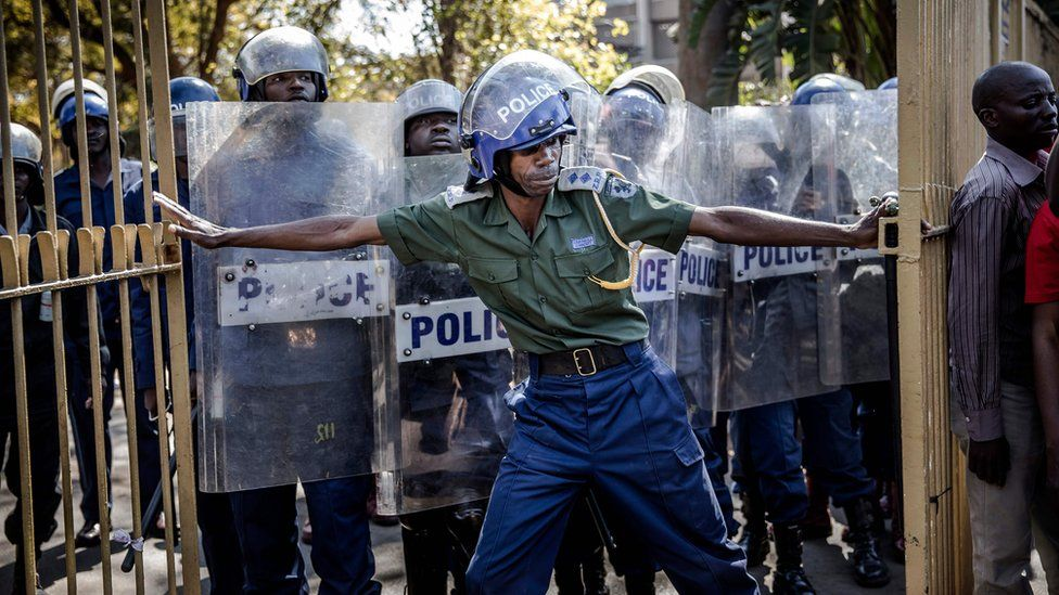 Riot police sold a dummy