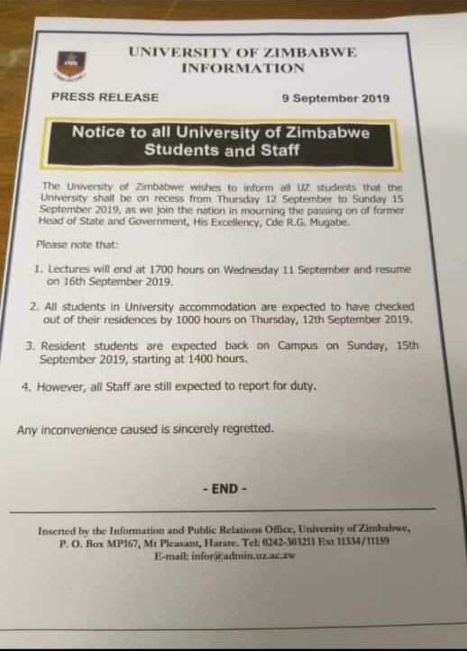 UZ Students Kicked Out Of Hostels To Make Way For Heads Of States During Mugabe Burial