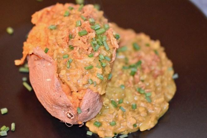 Süßkartoffel - Kartoffel - Kumpir - Ofen - Füllung - Dal - Rezepte - essen - Linsen - rote Linsen - Kokosmilch - vegan - indisch - einfach - vegetarisch