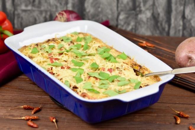 cremiger Kartoffelauflauf - Rezept - vegan - glutenfrei - mit Gemüse - einfach - gesund - Paprika - ohne Sahne - Auflauf - Kartoffelauflauf