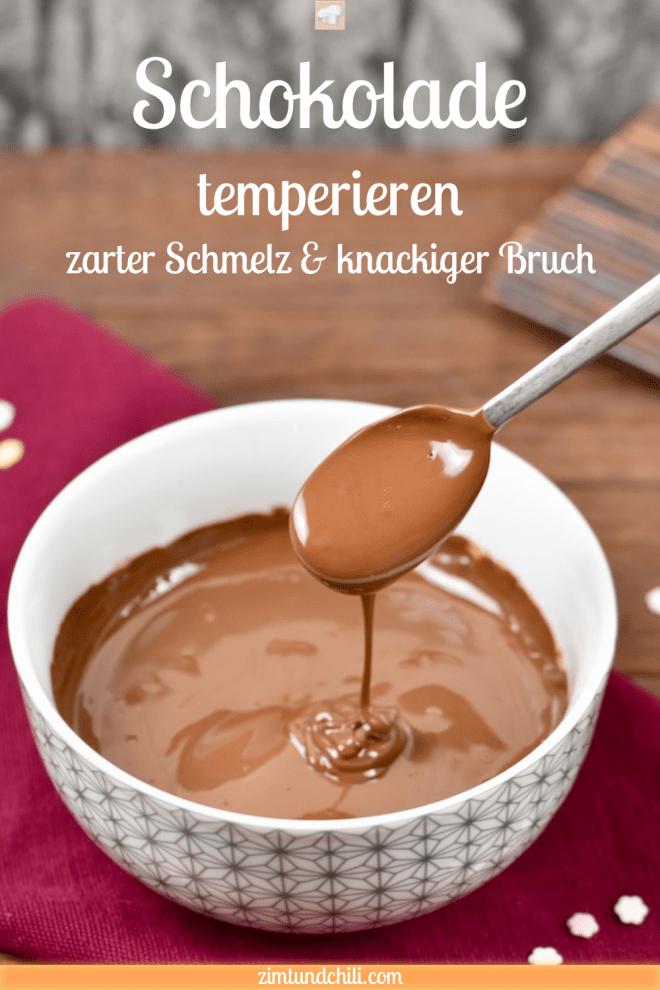 Schokolade temperieren - Schokolade schmelzen - Wasserbad - Temperatur - ohne Klumpen - für Glasur - Glanz - knackiger Bruch - zarter Schmelz - Schokolade