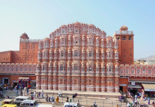 rote Front vom Palast der Winde in Jaipur - Indien