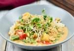 Rotes Thai-Curry mit Kokosmilch in einem grauen, tiefen Teller.