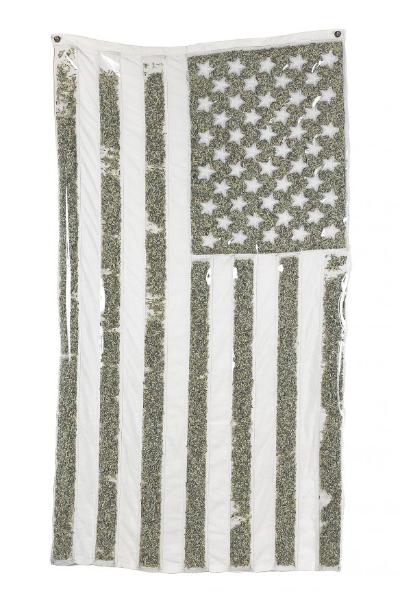 hballardmartz_old glory (whitewashed and monetized)_57x31.5_found US flag with color chemically removed, shredded US currency, vinyl, thread