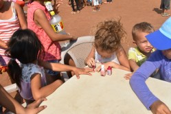 Paige painting nails at our Big Event during the Missionary Training School