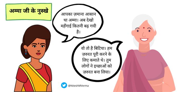 Hindi Cartoon on Needs and Wants