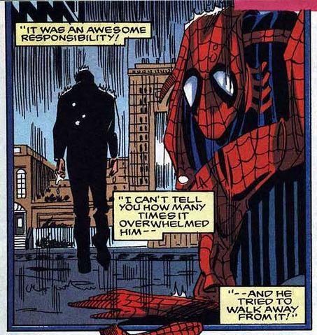 Peter siempre tira el traje en el mismo cubo de basura...