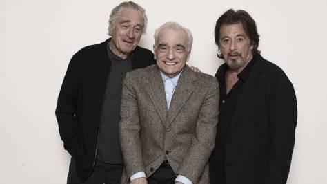 Fotografía de Martin Scorsese con Robert de Niro y Al Pacino