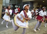 The Evergreen Drum Majorettes from Lenasia South entertained the crowd outside Photo: Nokuthula Manyathi