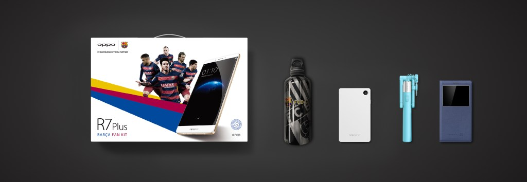 R7 Plus FC Barcelona Edition comes with the Fan Kits (which including a Aluminium Water Bottle, OPPO Flash