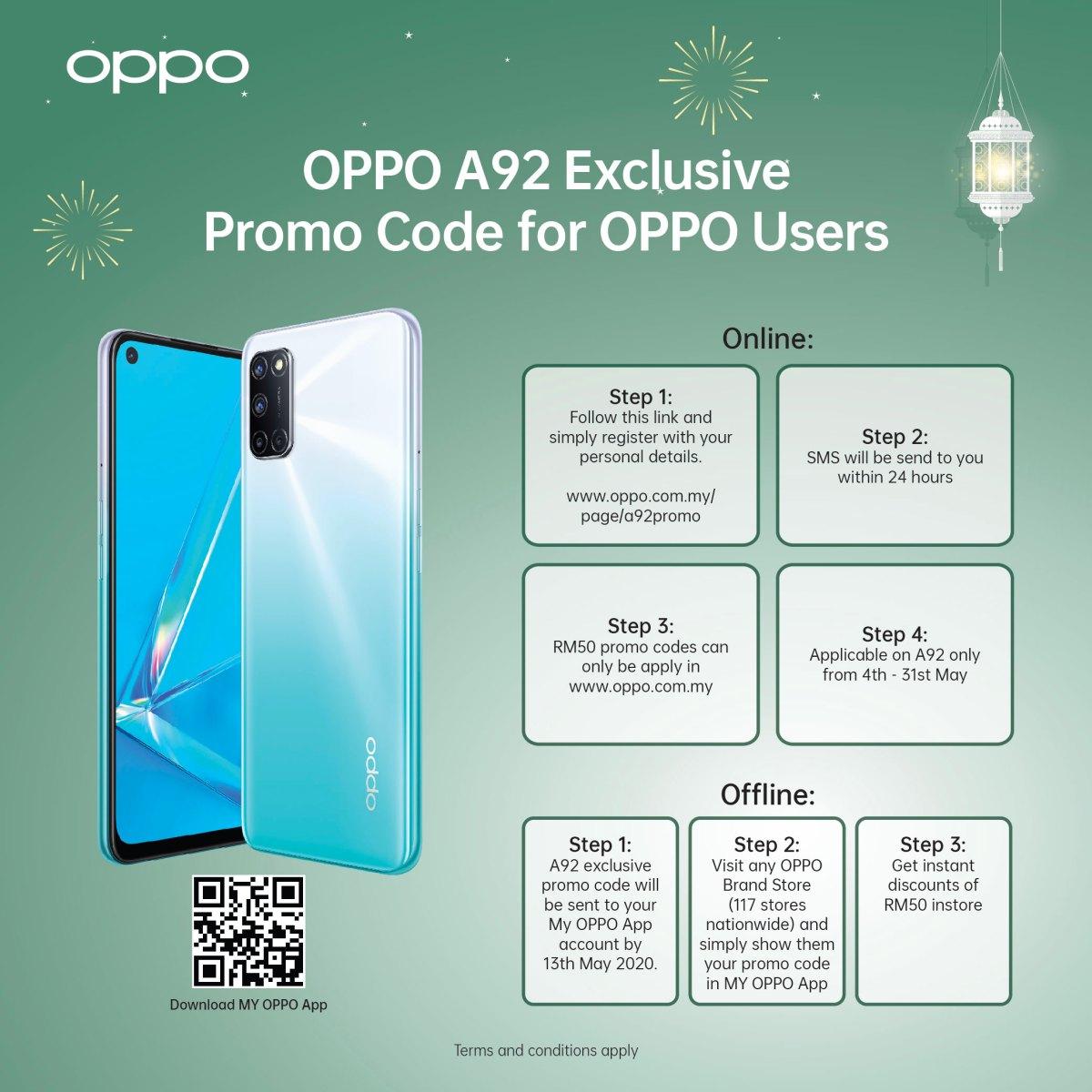 OPPO Raya期间送好康!Find X2、Reno系列等手机可享最高RM499赠品、参加抽奖还可享现金回扣! OPPO-Raya-A92-Rebate