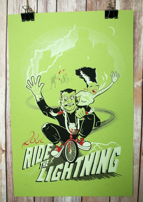 Zinggia Ride the Lightning Monster Bike Screenprint