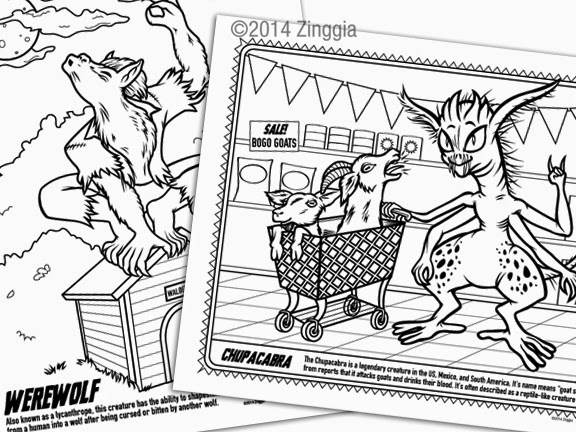 Zinggia! Monster Coloring Book has Cryptozoology & classic