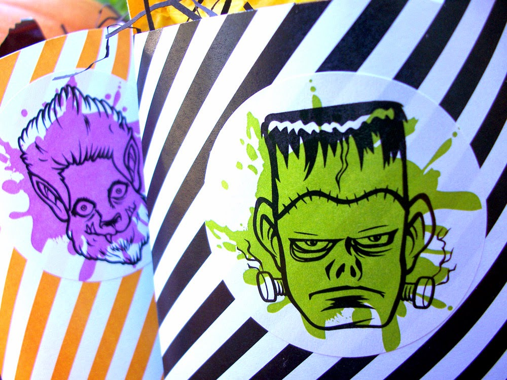 Halloween Monster Stickers, costume award badges, & coloring postcards