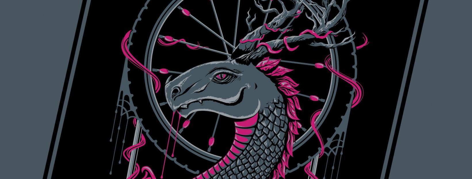 Desert Rose Dragon screenprint for sale