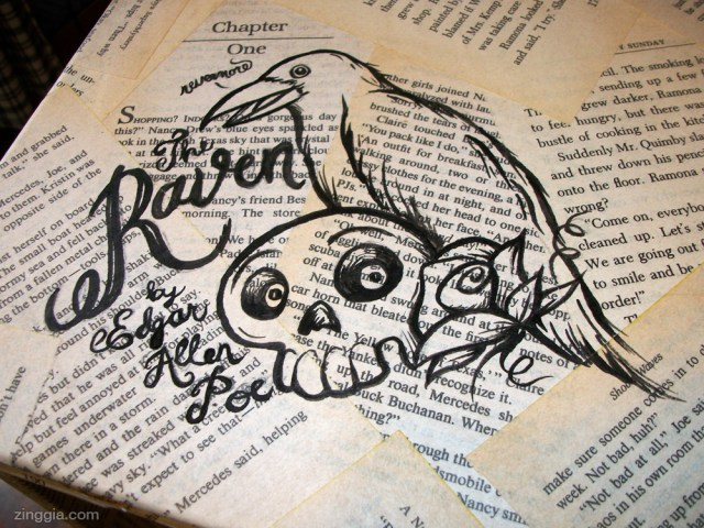 Edgar Allen Poe's The Raven pen & ink illustration