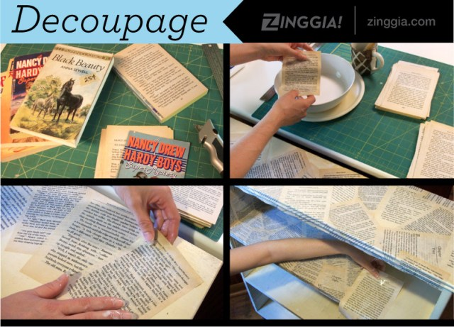 decoupage bookshelf process