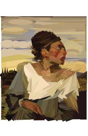 Digital Reimagining of The Orphan Girl at the Cemetery by Delacroix