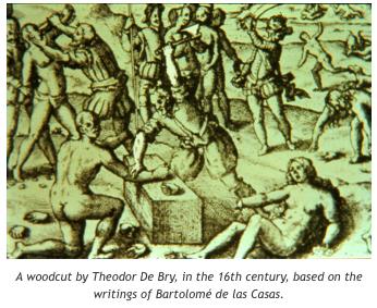 Un grabado por Theodor de Bry, en el siglo 16, basado en los escritos de Bartolomé de las Casas.
