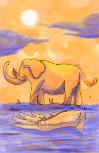 Colorized Touching the Elephant illustration by Xiaochun Li