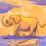 Colorized Touching the Elephant illustration by Xiaochun Li