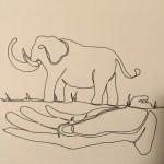 Original sketch Touching the Elephant front cover by Xiaochun Li