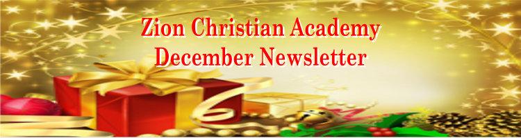 Zion Christian Academy Newsletter December 2019