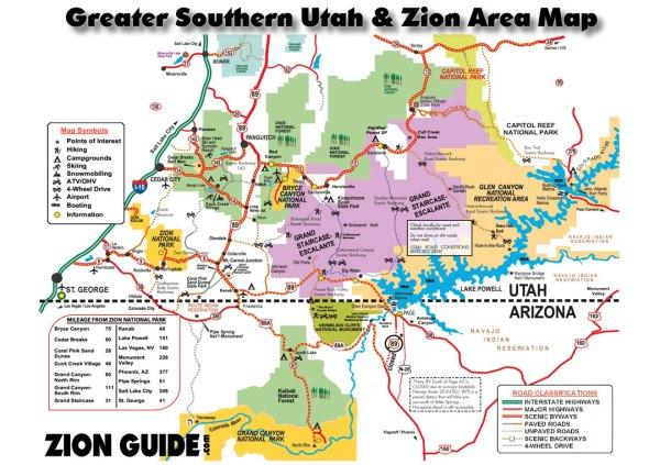 Southern Utah Zion Area Map Utah State National