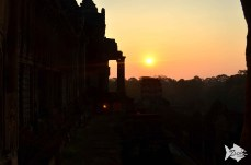 Early morning serenity watching the sun rise within the temple of Angkor Wat.