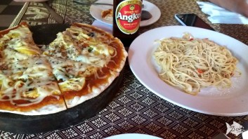 """Happy pizza"" as Cambodians call it is a known dish in Siem Reap that combines weed and pizza. However, if you order an ""unhappy"" pizza in one of the Herb restaurants lined up across Siem Reap's Hospital, the price is almost half down, and the food is very tasty too."