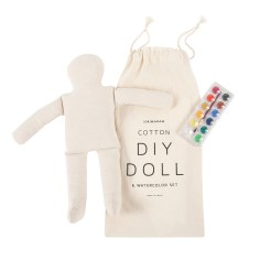 DIY Watercolor Doll Set $32 Paint this pure cotton DIY doll with the enclosed watercolor set, or use your own markers, fabric, glitter, yarn — whatever embellishment strikes your fancy.