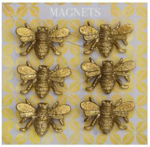 """1""""L Pewter Bee Magnets On Card, Set of 6 $15.50"""