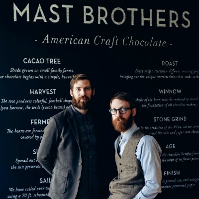 Two Mast brothers in their chocolate shop