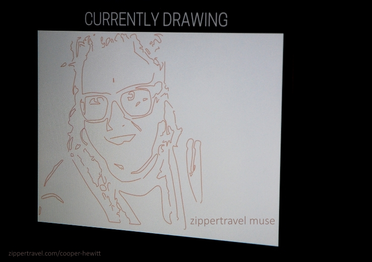 An electronic drawing of Elizabeth at the Cooper-Hewitt in NYC