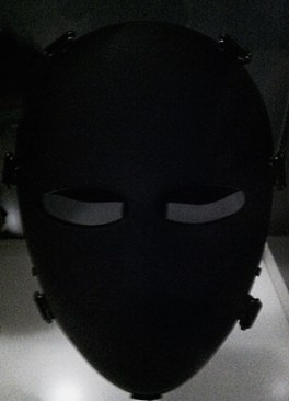 Black and grey ballistic facemask at the Cooper-Hewitt Museum in NYC