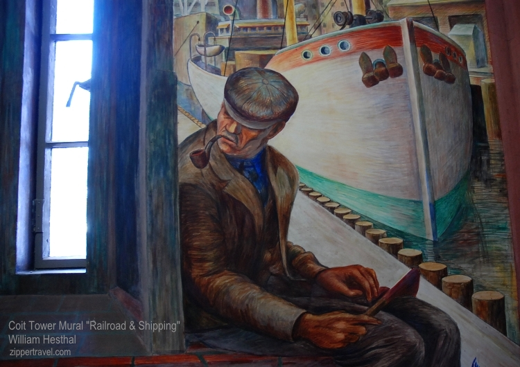 Dockworker smoking pipe Railroads and Shipyards mural by William Hesthal Coit Tower North Beach San Francisco California