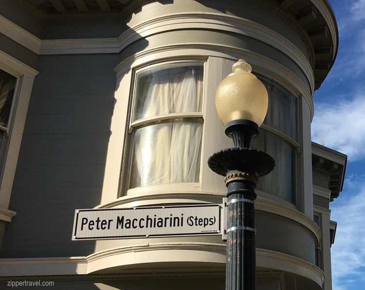 Lamp post building turret Peter Macchiarini steps sign North Beach San Francisco