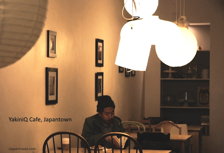 Man reading in YakiniQ Cafe Japantown San Francisco