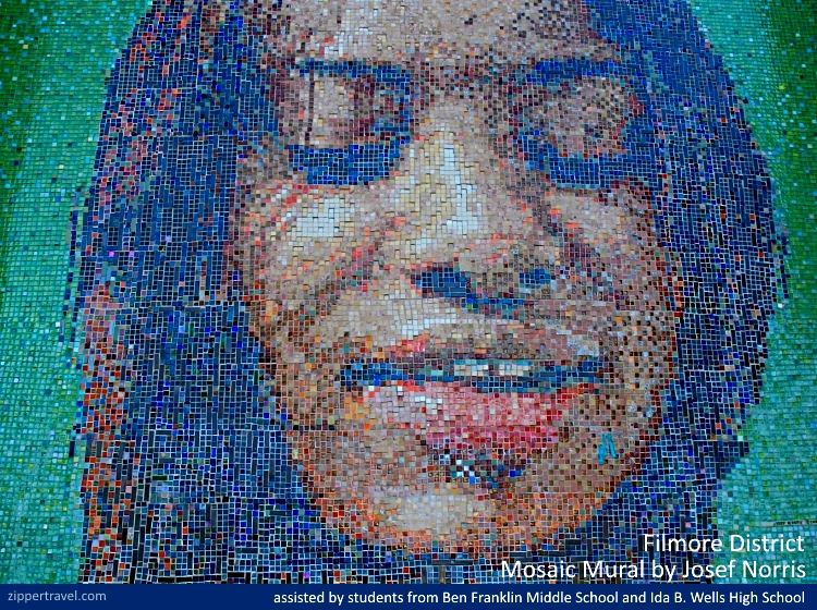 mosaic mural african american woman josef norris fillmore district san francisco