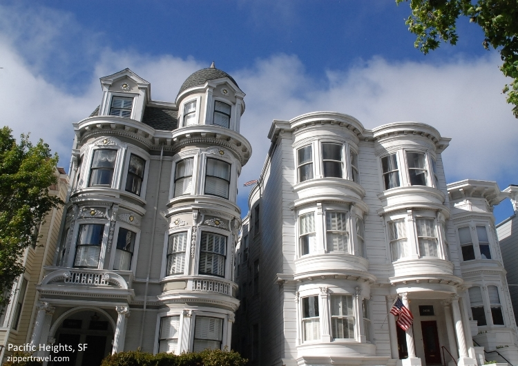 Pacific Heights white mansions San Francisco