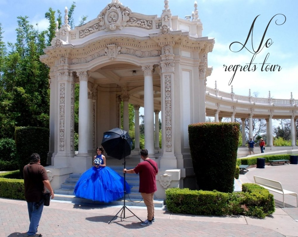 blue gown girl posing quinceanera photos balboa park san diego