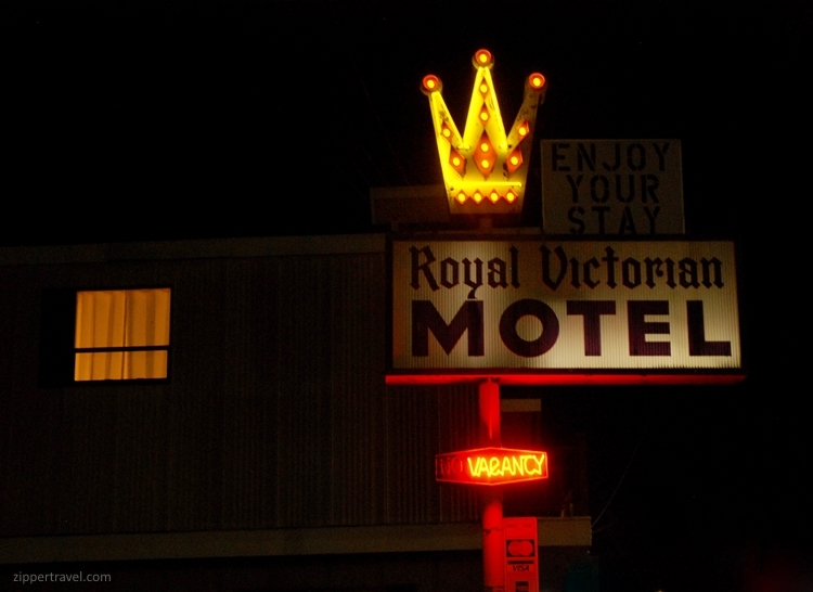 Royal Victorian Motel neon sign night Port Angeles Washington