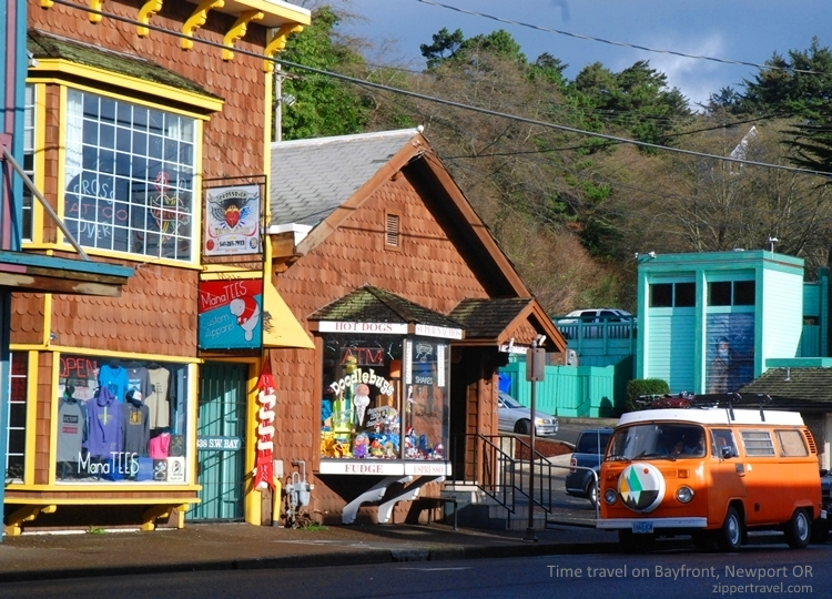 Town shot with VW bus Newport Oregon