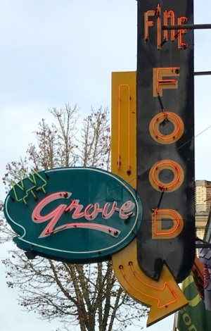 Grove Fine Food neon Cottage Grove Oregon