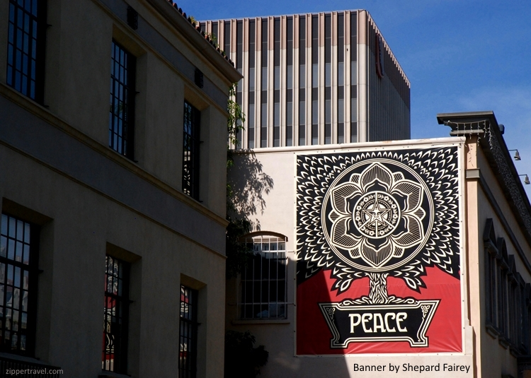 Shepard Fairey Peace banner Riverside California