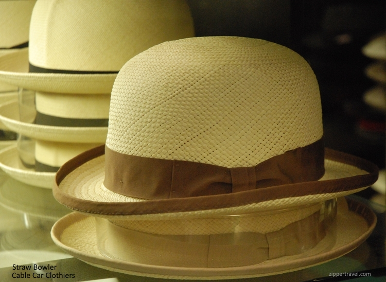 straw bowler cable car clothiers hats san francisco