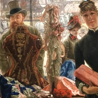 """Tissot """"The Shop Girl"""" painting at the Degas, Impressionism and Millinery exhibit at the Legion of Honor"""