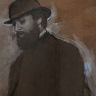 Standing Man Bowler Hat Edgar Degas detail Legion Honor hats San Francisco