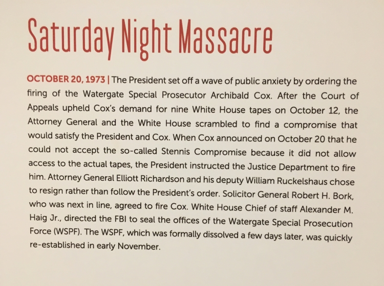 Saturday Night Massacre Watergate Room Nixon Library